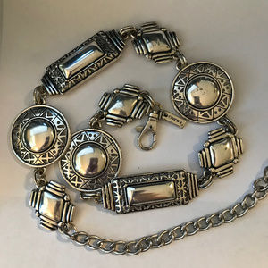 Chico's Simple Silver Slouch Concho Belt Medallion